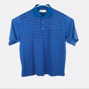 donald ross Shirts - Donald Ross men's blue striped golf polo Large